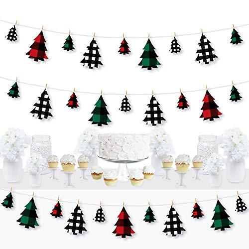 Big Dot of Happiness Holiday Plaid Trees - Buffalo Plaid Christmas Party DIY Decorations - Clothespin Garland Banner - 44 Pieces
