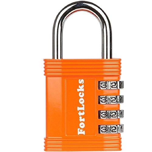FortLocks – Candado Naranja de Casillero, 4 Dígitos, Acero Inoxidable Endurecido, Resistente al Agua y a la Intemperie, Números Fáciles de Leer, Combinación Reajustable y a Anti-Cortes - 1 Paquete