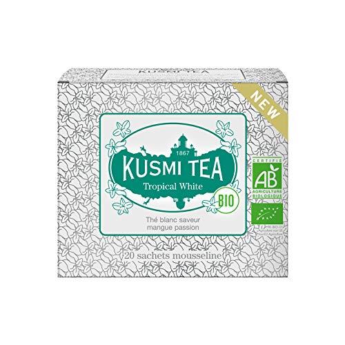 Kusmi Tee - Tropical White Bio - Weißer Tee mit Mango-Passionsgeschmack - Box mit 20 Musselin Teebeuteln -36 g - Ideal als Eistee