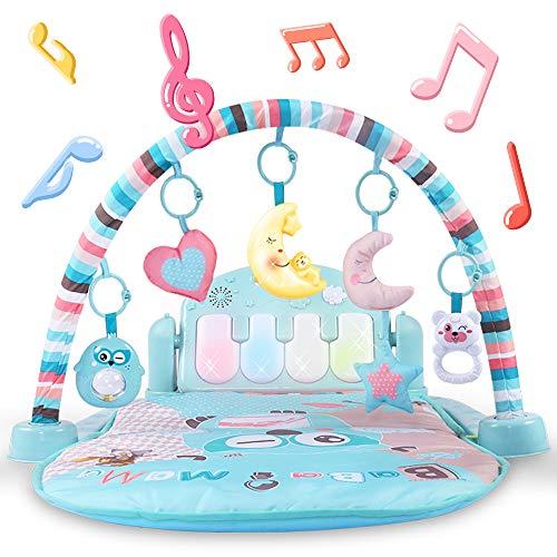 Alfombrilla de juego para bebé y gimnasio de actividad Kick and Play Piano gimnasio centros con música y luces.juguetes de aprendizaje electrónico para niños, niñas y niños de 1 a 36 meses.