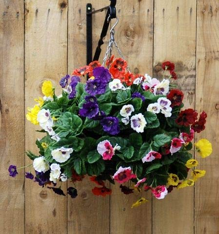 Artificial Silk Pansy Ball Hanging Basket - Yellow, Red, Blue, Pink and White Pansies