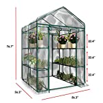 Home-complete hc-4202 walk-in greenhouse- indoor outdoor with 8 sturdy shelves-grow plants, seedlings, herbs, or flowers… 14 8 durable shelves- the 8 sturdy shelves provide plenty of room for trays, pots, or planters of anything you want to grow. It's a convenient option for any gardener! Indoor outdoor- this versatile greenhouse is ideal for both indoor and outdoor use; keep it on your backyard patio, deck, or in the basement or garage! The clear pvc cover helps protect seedlings from frost or pests for an ideal growing environment. Easy assembly- with no tools required, the greenhouse is easy to assemble! Simply follow the included instructions and connect the rods. Rope and anchors are included for stability, and each shelf comes with zip ties to ensure they can't be tipped over.