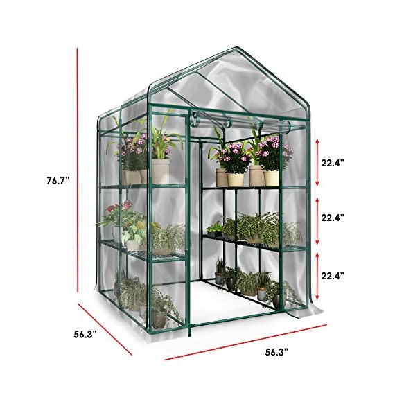 Home-complete hc-4202 walk-in greenhouse- indoor outdoor with 8 sturdy shelves-grow plants, seedlings, herbs, or flowers… 6 8 durable shelves- the 8 sturdy shelves provide plenty of room for trays, pots, or planters of anything you want to grow. It's a convenient option for any gardener! Indoor outdoor- this versatile greenhouse is ideal for both indoor and outdoor use; keep it on your backyard patio, deck, or in the basement or garage! The clear pvc cover helps protect seedlings from frost or pests for an ideal growing environment. Easy assembly- with no tools required, the greenhouse is easy to assemble! Simply follow the included instructions and connect the rods. Rope and anchors are included for stability, and each shelf comes with zip ties to ensure they can't be tipped over.