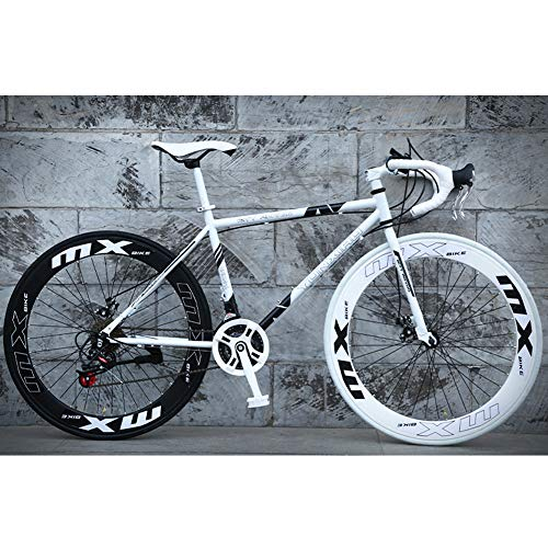HAOYF Road Bicycles, 24-Speed 26 Inch Bikes, Double Disc Brake, High Carbon Steel Frame, Road Bicycle Racing, Men and Women Adult-Only,White