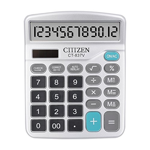 Hi-tec Calculator,Compact Design Standard Function Handheld Portable Electronic Calculator Desktop Calculator with 12 Digit Large Display Office Calculator(Silver)