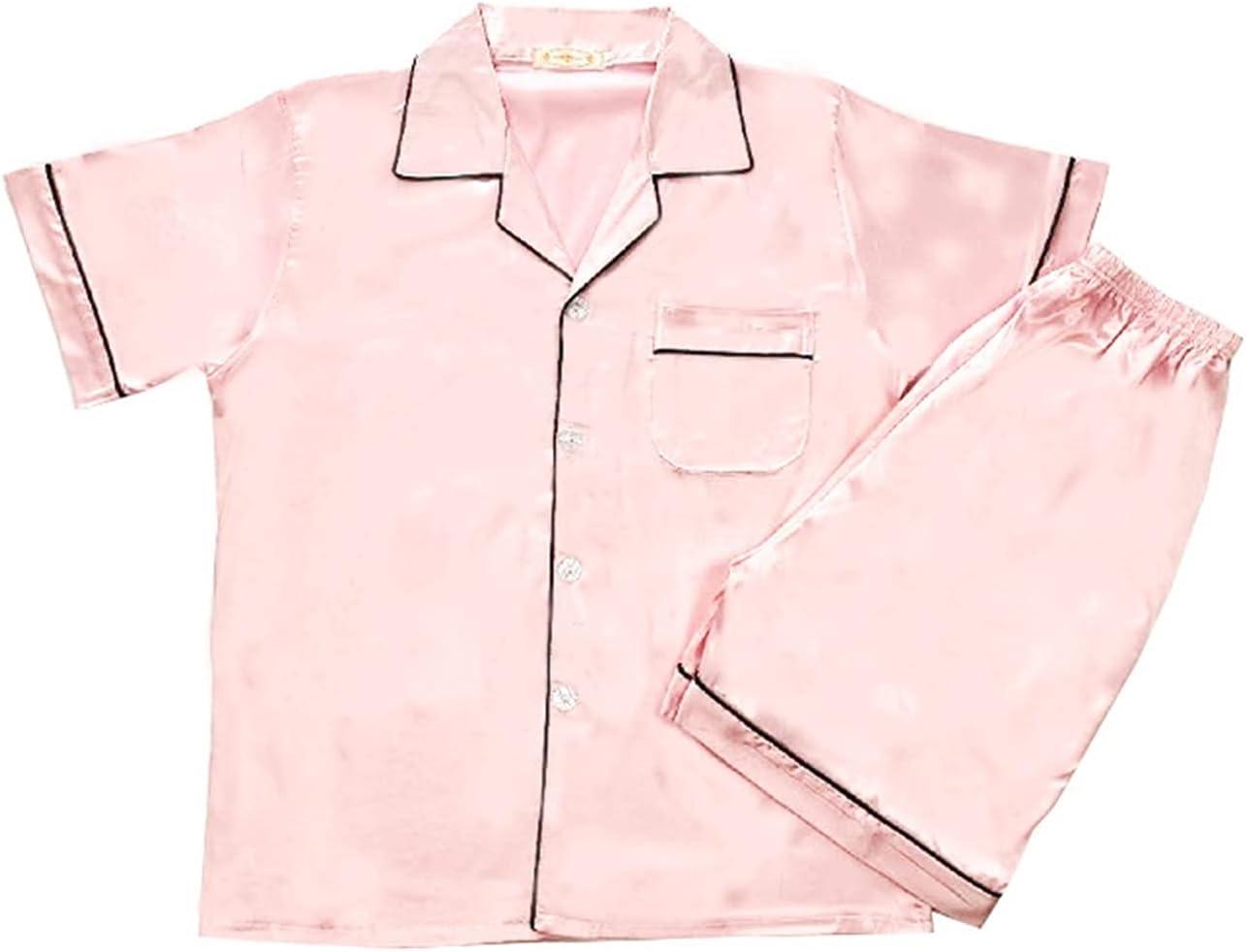 HONGJIU Silk Pajamas for Men,Men's Satin Pajamas Short Button-Down Pj Set Sleepwear Loungewear (Color : Pink, Size : Large)
