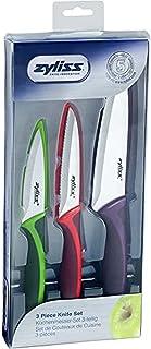 Zyliss E72404 Set de 3 couteaux colorés : Office, Universel et Chef, lame acier inoxydable