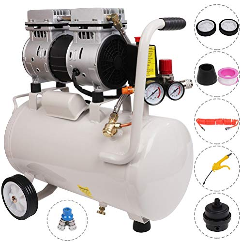 Homegreg 56 decibels ultra Silent 110V 6.3 gallon 0.8 HP Oil Free light weight Air Compressor with blow gun kit