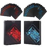 Baraja Poker Plastico Negro Barajas de Cartas de Póquer Cartas Poker de Plastico Tarjetero Negro 54+54 Hojas se Utiliza para Fiestas y Juegos Familiares Navidad Halloween 1 Rojo+1 Azul 2 Piezas