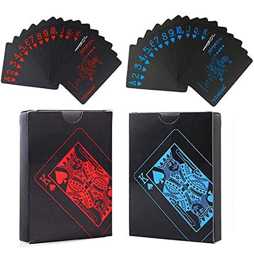 Carte da Magia Nero Carte da Poker Impermeabili Carte da Gioco in PVC Professionali Mazzo di Carte Nere 54+54Fogli Usato per Feste in Famiglia e Giochi Natale Halloween 1Rosso +1Blu 2 Pezzi
