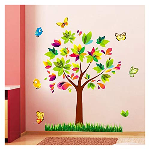 JSJJAYU Wall Stickers Tree Birds Vinyl Mural DIY Wall Sticker Home Decor Wall Decals For Kids Room Nursery Room Decoration (Color : A)