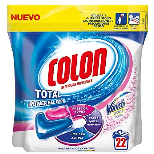 Colon Total Power Gel Caps Vanish - Detergente para lavadora con agentes quitamanchas, formato cápsulas - 22 dosis