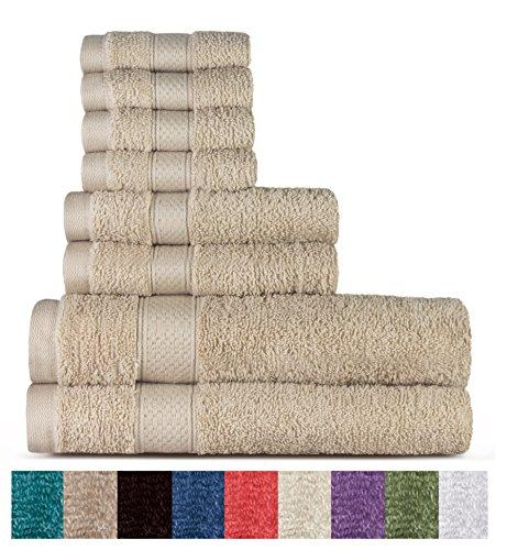Welhome 100% Cotton 8 Piece tovagliolo (Biancheria); 2 Teli da Bagno, 2 Asciugamani e 4 salviette, Lavabile in Lavatrice