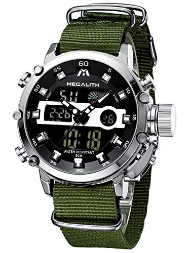 MEGALITH Mens Watches with Nylon Waterproof Digital Military Sport Tactical Multifunction Heavy Duty Led Silver Watch for Men, Alarm Stopwatch