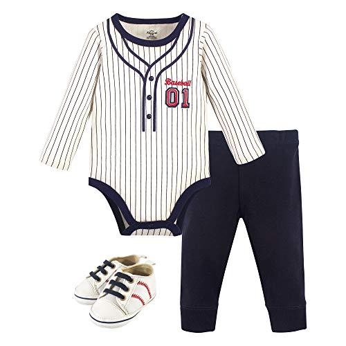 Little Treasure Unisex Baby Cotton Bodysuit, Pant and Shoe Set, Baseball, 0-3 Months Arizona