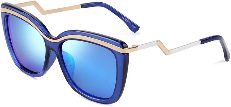 Fashion Big Box Polarized Sunglasses Ladies Trend Sunglasses Driver Driving Driving Mirror Sky bluee