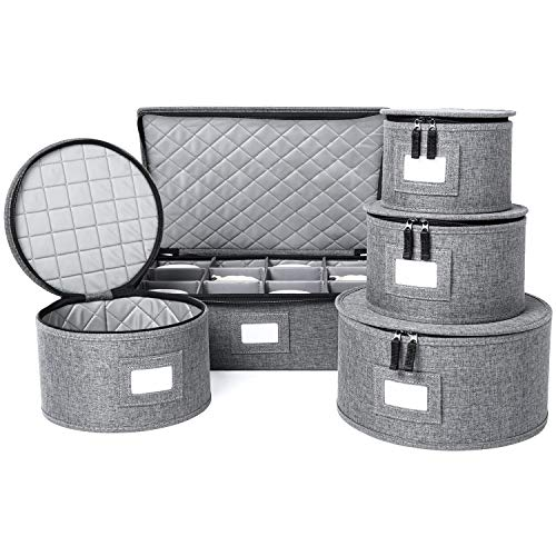 China Storage Set, Hard Shell and Stackable, for Dinnerware Storage and Transport, Protects Dishes Cups and Mugs, Felt Plate Dividers Included (Grey, 5 Piece Set)