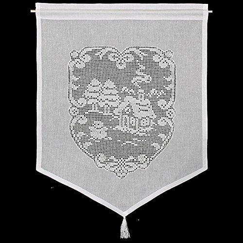 Raamdecoratie winterlandschap gordijn Hossner | 60x45 cm H/B | wit | 100% katoen
