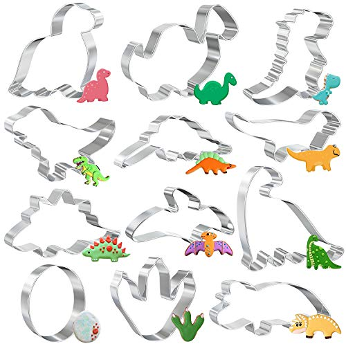 Molde para Galletas, Juego de Cortadores Galletas, 12 pcs Cortadores Galletas Dinosaurio, Moldes Galletas Infantiles para Decoración de Cumpleaños de Niños con Tema de Dinosaurio