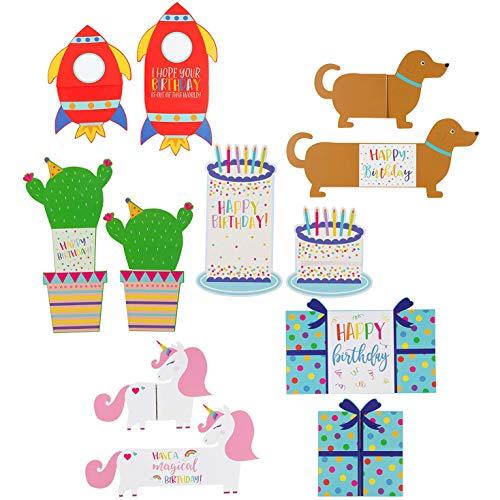Geburtstagskarten für Kinder von Sustainable Greetings (24 Stück) - Faltkarten mit Happy-Birthday-Text - 6 Formen/Designs z. B. Rakete, Hund, Einhorn - Umschläge inklusive - 12,7 cm x 17,8 cm