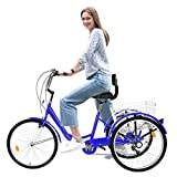 (Shipping Fast) Adult Tricycles 7 Speed, Adult Trikes 24inch 3 Wheel Bikes, Three-Wheeled Bicycles Cruise Trike with Shopping Basket for Seniors, Women, Men (Blue)