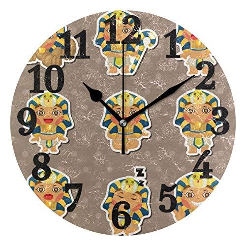 Ahomy Runde Wanduhr antikes Ägypten-Emoji-Heimdekoration, Nicht tickende Ziffernuhr für Home Office 1 x AA-Batterie (Nicht im Lieferumfang enthalten)