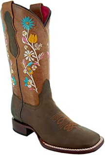 Women's Broad Square Toe Floral Cowgirl Boots M9004