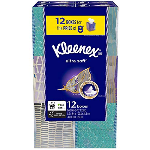 Kleenex Ultra Soft Facial Tissues  Cube Boxes 12 Pack 65 tissues