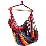 RELAX4LIFE Hängesessel, Hängesitz mit 2 abnehmbaren Kissen, Hängestuhl mit dickem Seil, Hängeschaukel für Kinder & Erwachsene, für Balkon & Wohnzimmer, bis zu 160 kg belastbar, waschbar (Rot)