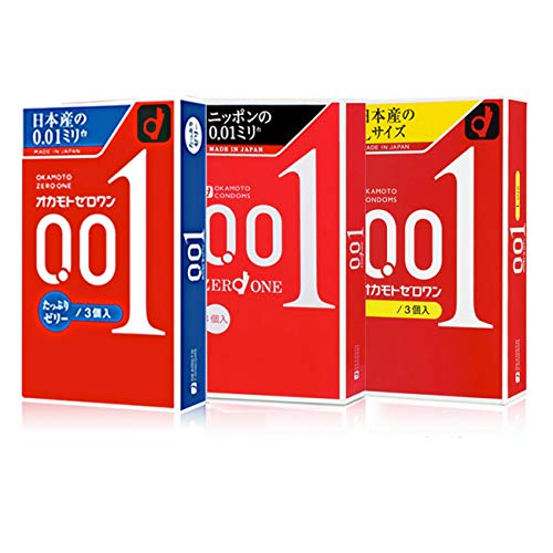 Condón mundialmente famoso 0.01 condón de 3 piezas,Okamoto001blacklabel[3]