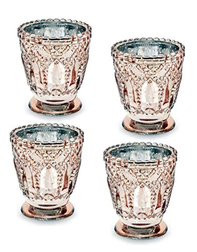 Feste Feiern Teelichthalter Castello 4er-Set Glas 8x7cm Altrosa Rose´ Kerzenhalter Windlicht Dekoration Tafel edle Tischdeko Advent