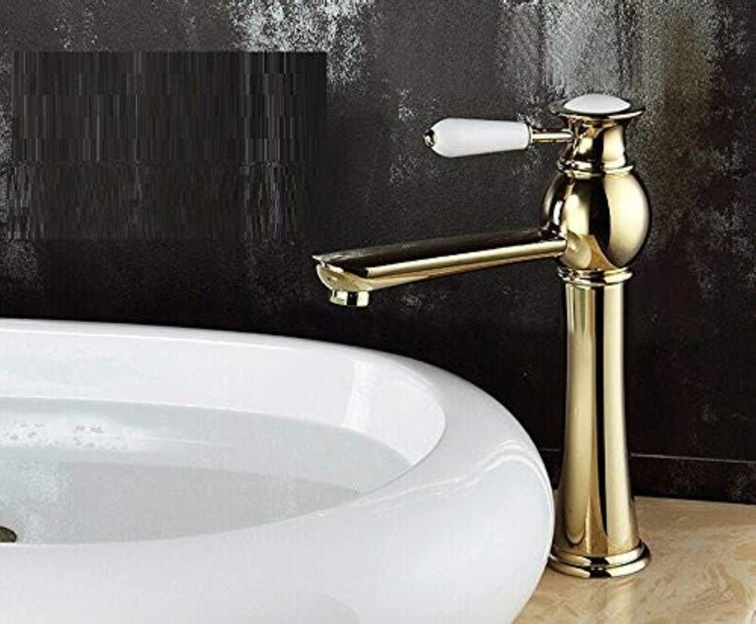 CFHJN HOME Taps Brass And With Ceramic Single Handle Basin Faucet Hot And Cold Tall High gold Bathroom Sink Mixer Tap Taps