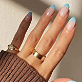 Kamize Short Press on Nails French Oval Fake Nails Tips...
