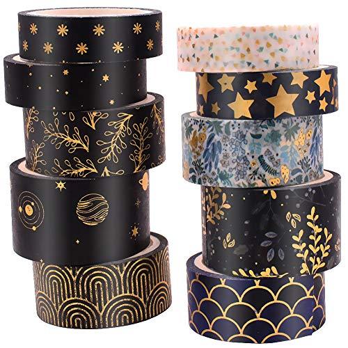 ASTU Black Washi Tape Set - 15 mm Wide Vintage Floral Washi Masking Tape...