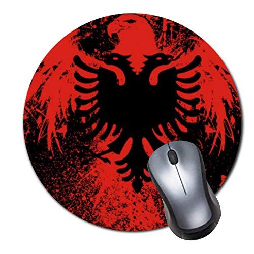 Alfombrilla de ratón para Videojuegos, Antideslizante, de Goma, Redonda, para Ordenadores, portátiles, con Doble Cabeza de águila en Rojo y Negro