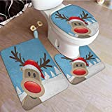 3 Pcs Toilet Bath Mat Set Reindeer Rudolph with Red Nose and Santa Claus Hat Snowy Forest Commode Contour Rug Absorbent Water/Dry Fast/Machine-Washable Pale Blue Red Pale Brown