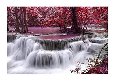 Super Power® 1000 Piezas Bosque Cascada Rompecabezas Montañas Cascada Paisaje Hogar Marco de Fotos Decoración Puzzles de Madera para Adultos, Tamaño de Acabado 30x20 Pulgadas