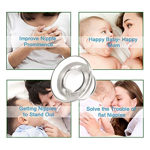 Welnove 4 PCS Nipple Shield Pullers Nipple Everters Sucker Latch Assist and Correct for Flat-Inverted Nipple