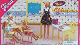 Gloria Dollhouse Furniture for Barbie Dolls - Classroom with Desk, Chairs Chalkboard