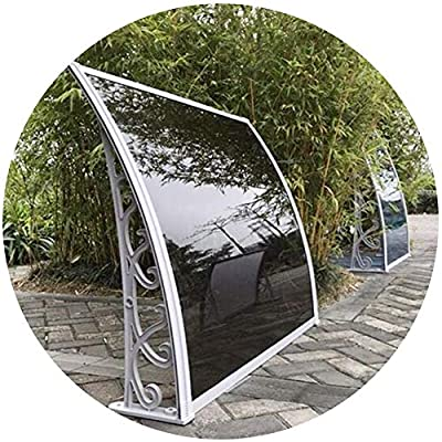 Outdoor Garden Door Canopy Awning Window Rain Shelter Cover Polycarbonate Panel with Aluminum Alloy Bracket 2 Colors (Color : Black, Size : 60cmx100cm)