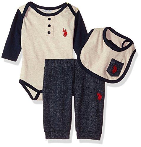 U.S. Polo Assn. Baby Boys' Creeper, Bib Hat and Pant Set, Oatmeal Heather, 24M