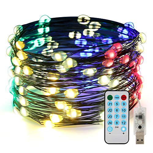 CrazyFire Voice Activated Led String Lights,Firefly Lights USB Powered with Remote Control,33ft 100 LED Multi Color Changing Twinkle Lights for Festival,Christmas,Wedding Party