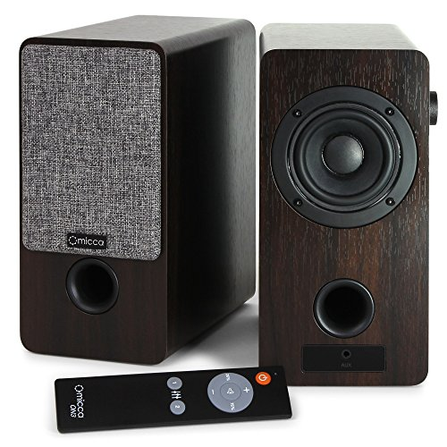 Micca ON3 3-Inch Powered Bookshelf Speakers with Remote Control, 48 Watts (24W x 2) RMS Power, Front