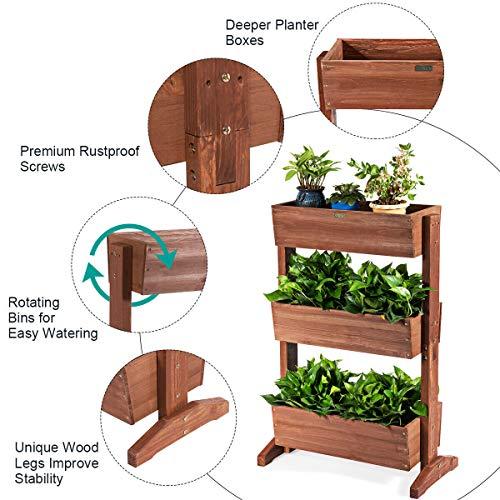 Giantex 3 Tier Raised Garden Bed Vertical Freestanding Wooden Flower Rack with Detachable Ladder and Adjustable Shelf,Classification Storage Box Shelf for Indoor Outdoor Flower Stand (Nut-Brown)
