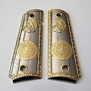 Tek_Tactical 1911 Grips COLT Full Size Government Grips Ambi Cut Aztec Calendar Nickel/Gold