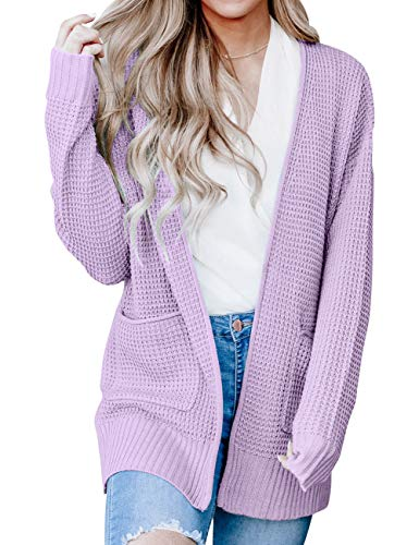 MEROKEETY Womens Long Sleeve Waffle Knit Cardigan Open Front Side Slit Sweater with Pockets Lavender