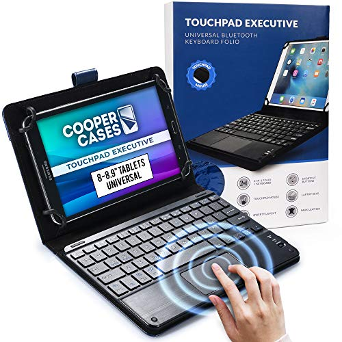 Cooper Touchpad Executive [Multi-Touch Mouse Keyboard] case for 8-8.9  Tablets   Universal Fit   iPadOS, Android, Windows   Bluetooth, Leather (Blue)