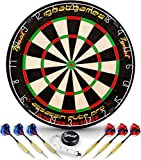 Professional Dart Board Set - Bristle/Sisal Tournament Dartboard with Complete Staple-Free Ultra Thin Wire Spider + 6 Steel Tip Darts + Darts Measuring Tape + Darts Guide (Assassin Blade Pro)