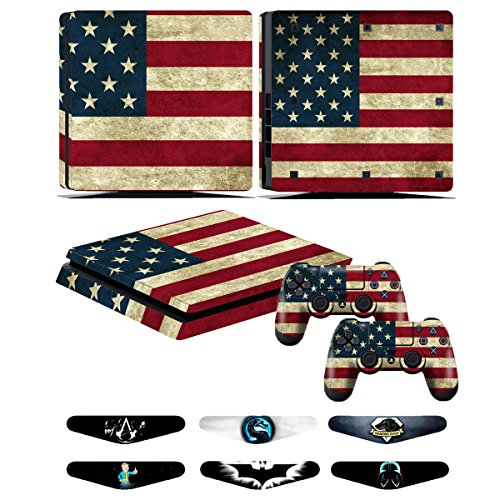 PS4 Slim Controller Skins- Decals for Playstation 4 Slim Games - Stickers Cover for PS4 Slim Console Sony Playstation Four Accessories with Dualshock 4 Two Controllers Skin - Battle Torn Strips
