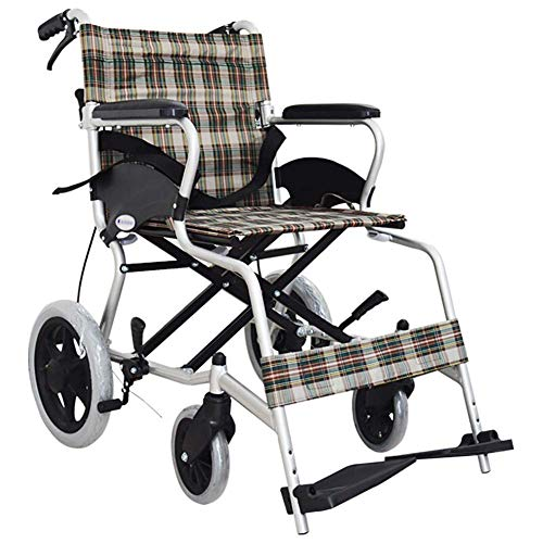 HXCD Rueda Plegable para Transporte liviano para Adultos con 4 Frenos, portátil, Asiento de 41 cm, con Bolsas de Almacenamiento, Aluminio, Plegable de 13 kg